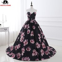 Wholesale Simple Floral Prom Dresses - In Stock Cheap Evening Dresses off the Shoulder Flower Pattern Floral Print Evening Dress Gown Party Long Prom dresses US2-US16