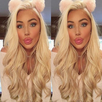 Wholesale Human Hair Lace Wigs White - Full Lace Human Hair Wigs Blonde 613 Peruvian Hair body wave Gluless Lace Front Human Hair Wig for Black White Women