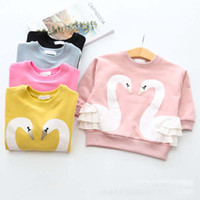 Wholesale T Shirts Winter Hoody - Autumn Winter Girls Clothes Fashion swan Girl Sweater Cotton kids pullover T-Shirt Children Hoodie baby Hoody tops Wholesale Kids Wear A797