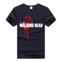 manos sangrientas al por mayor-CAMINANDO MUERTA Camiseta Bloody Hand Tops Hombres personalidad camiseta