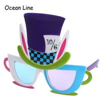 Wholesale Cosplay Mad Hatter - Alice In Wonderland Mad Hatter Costume Glasses Cosplay Hat Props Birthday Favors Festive Party Supplies Decoration Accessories