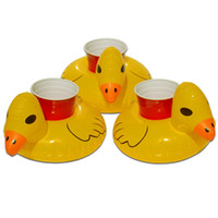 Wholesale Inflatable Yellow Duck - Yellow Duck PVC Inflatable Drink Cup Holder Beverage Holders Floating Pool Beach Stand Swimming Pool Child's Play Kids Bath Toy