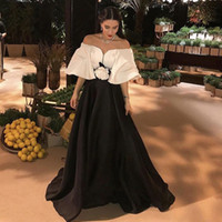 Wholesale design flower evening dress - 2017 Simple Design Puffy Women Evening Party Gowns Formal Wear Black and Ivory Sweetheart Half Sleeve Flowers Empire A Line Prom Dresses