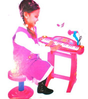 Wholesale Kids Piano Microphone - 37 keys Pink Piano Keyboard set with Microphone and stand Chair Kid Child #154096