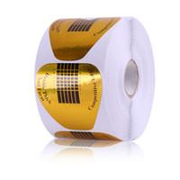 fita adesiva venda por atacado-A1-D038 Nail Art Extensão Prego Forma 500 Pcs Ouro Em Forma de U Etiqueta Do Prego Adesivo Tape Adesivos Adesivas Acrílico UV Gel Dicas Atacado