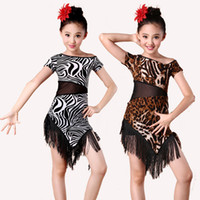 Enfant Enfant Jeune Enfant Concours Dance Dance Latino Dancing Leopard Robe Zebra Costume de danse Enfant Latin Dance Dress For Girls
