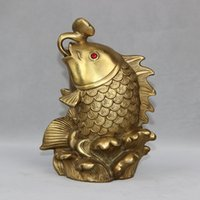 Wholesale Chinese Fish Statue - Chinese Brass animal Wealth Money coin YuanBao fish Ruyi Statue home decoration