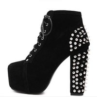 Atacado-Plus Size Ultra High Heels Shoes Mulher Punk Boots Spikes Ankle Boots Rivet Bota Mulheres lita Platform Booties Lace Up Lady Shoes