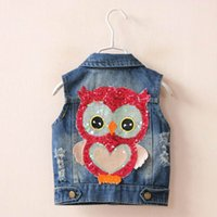 Wholesale Owls Clothes - 2017 Spring Summer New Girl Waistcoat Sequins Owl Cartoon Denim Coat Children Clothing 2-7Y 18505