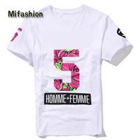 camiseta floral de los hombres al por mayor-Europa Nuevo 2017 Verano Homme Femme NO 5 Moda de alta calidad Cremallera Lateral Camisetas Camisetas Hombres Mujeres Flor Floral de Manga Corta Camiseta