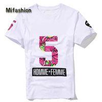 ingrosso camicie fiorite per gli uomini-Europa Nuovo 2017 Estate Homme Femme NO 5 Moda di Alta qualità Side Zipper Tee T-Shirt Uomo Donna Fiore Stampa Floreale Manica Corta Tshirt