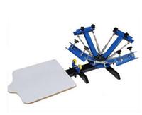 freie farbdrucker großhandel-Express FREI shipp 4 farbe 1 station siebdruckmaschine t-shirt druckerpresse ausrüstung karussell druckbereich 40 * 50 CM