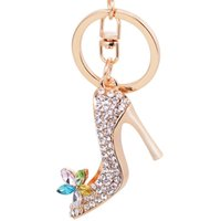 Wholesale High Heel Hanger - Women high heel shoes key chain fashion rhinestone flower design luxury lady bag charm hanger car key rings best birthday gift