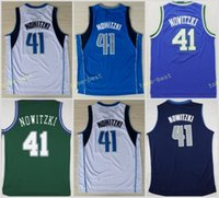 Wholesale Dry Goods - Men 41 Dirk Nowitzki Basketball Jerseys Wholesale Throwback Dirk Nowitzki Jersey For Sport Fans Green Blue White Embroidery Good Quality