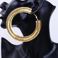 Wholesale Silver Big Round Earrings - Super Big Round Hoop Earrings For Women Punk Nightclub Party Fashion Jewelry Bijoux Gift Gold Color Statement Bamboo Earrings Maxi Ethnic