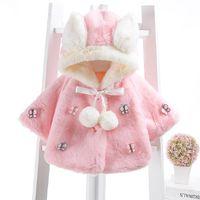 Wholesale Ear Fur Coats - Baby Infant Girls Fur Winter Warm Coat Cloak Jacket Thick Warm Clothes Baby Girl Cute hooded Rabbit ear butterfly outwear