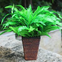Wholesale Artificial Fern Floral Room Crafts Plastic Arrangements Arts Accent Piece Grass Flower Green Home Decor Lively