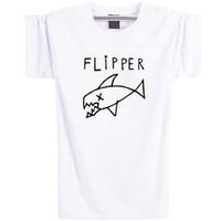 Wholesale Fishing Clothes Men - Flipper fish shirt Nirvana band short sleeve Music star tees Leisure quality clothing Elastic cotton Tshirt