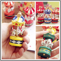 Wholesale Cheap Hanging Decorations - Wooden Christmas Decorations New Arrival Children Party Decoration,12pcs lot about 7.5cm Kawaii Mini Carousel Hanging Decoration,Cheap