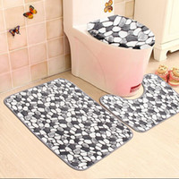 Wholesale Pebbles Bath Mat - Wholesale-3PCS Non-slip Washable Floor Carpet Bath Mat Pedestal Toilet Rug Kits Coral Velvet Pebble Pattern Bathroom Mats Rugs Set