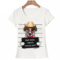 Wholesale Girls T Shirts Dogs - Summer Unique Police Chihuahua Design T Shirt Women's short sleeve very bad dog print Tops cool Hipster tees cute girl t shirt