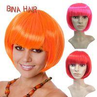 kıvırcık sarışın sentetik peruk toptan satış-BINA sentetik bob peruk colorfull kısa kıvırcık cosplay peruk sarışın pembe pary peruk turuncu Yortusu peruk 1 adet toptan