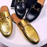 zapatos de marca de moda al por mayor-Cuero genuino Marca Mujeres Zapatillas Oro Negro Cadenas de la punta del pie Señoras Zapatos Mocasines Moda Marca de Calidad Superior Venta Caliente