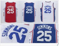 Wholesale Mens Blue Vest - Philadelphia #25 Ben Simmons College Stitched Embroidery Vintage basketball Uniforms Shirts Vest Throwback Mens Pro Team Sports Jerseys