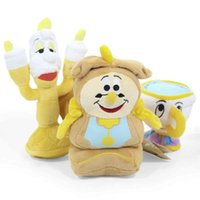 Wholesale Doll Clock - Hot ! 3pcs Lot Beauty and the Beast Clock   candle   cup Plush Doll Stuffed Toy For Baby Gifts 10cm -18cm