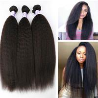 cabelo mix afro brasileiro venda por atacado-Brasileira Virgem Do Cabelo Humano Afro Kinky Em Linha Reta Grosso Yaki Trama Do Cabelo 3 pcs Mix Comprimento Livre grátis