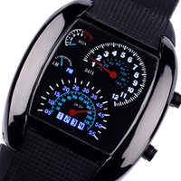 Wholesale Led Digital Car Clock - 1pcs Fashion Watch Men Sports Led Watches Race Speed Car Meter Dial Silicone Strap Men Male Clock Hours Military Watches