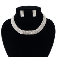 Wholesale Crystal Rhinestone Choker Necklace Earring - Ecesha Fashion Crystal Rhinestone Choker Necklace Earrings Set Wedding Jewelry For Women Silver Plated Bridal Jewelry Sets