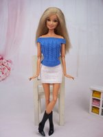 Wholesale Dolls Clothes Bjd - High Quality Handmade Doll Accessories Knitwear Blue Top & White Skirt Clothes For Barbie Doll House For 1 6 BJD Doll
