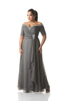 Wholesale Ankle Length Prom Dresses - Custom Made Plus Size Dresses Evening Wear Bead Sequins Off-Shoulder Ruched Gray Chiffon Prom Dress Mother Of The Bride Gowns Ankle