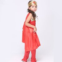 Wholesale Christmas Holiday Women Clothing - Girls wonder women cosplay clothing 6pc sets 4 sizes for 3-9T Kids party performance show costumes props holloween festivals clothes