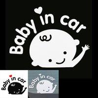 ingrosso adesivo di avvertimento parabrezza-100pcs 3D vinile riflettente Styling Lovely Cartoon Baby in auto Avvertimento Car Sticker per parabrezza posteriore CEA_30W