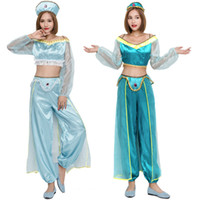 Wholesale Princess Jasmine Costumes For Women - Aladdin's Lamp Blue and green Woman Jasmine Princess Costumes Cosplay For Ma'am Halloween Party Belly Dance Dress Princess