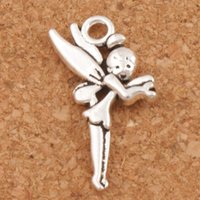Wholesale Wholesale Christmas Bells - Flying Tinker Bell Fairy Charms Pendants 200Pcs lot Hot sell Antique Silver Jewelry DIY 25x13.6mm L130