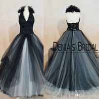 Wholesale Halter Court Train Wedding Dress - Vintage Black Wedding Dresses Angelina Julie Princess Halter Lace Appliques Bridal Gown Tulle Birdal Gown Shabby