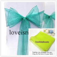 """Wholesale Teal Blue Organza Chair Sashes - 50pcs Teal Blue 8"""" (20cm) W x 108"""" (275cm) L Wedding Favor Sheer Organza Chair Covers Sashes Ribbons Bow Party Banquet Event"""