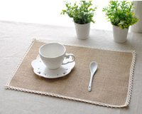 Wholesale Country Kitchen Sets - Wholesale- Burlap Placemats Set of 8 Table Mats Kitchen Dining Country Jute Handmade Decor