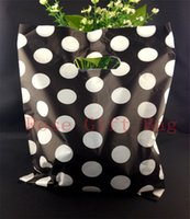 Wholesale Large Bag Plastic Package Packaging - Wholesale White Round Dots Black Plastic Bag 25x35cm Large Jewelry Shopping Packaging Plastic Gift Bags With Handle 50pcs lot