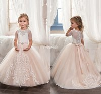Wholesale Christmas Wedding Dress For Sale - Hot Sale Blush Flower Girl Dresses for Vintage Wedding White Lace Sheer Neck Sash 2017 Short Sleeves Holy First Communion Gowns for Party