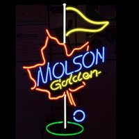 Wholesale molson beer - Fashion New Handcraft Molson Golden GOLF Real Glass Tubes Beer Bar Pub Display neon sign 19x15!!!Best Offer!