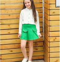 Wholesale New Arrival Girl s Sets for Autumn Shirt Short Skirt Fashion Two Pieces Cotton Kids Clothing for Years Old