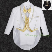 Wholesale Toddler Piece Formal Suit - Gold Baby Toddler Boys Teen Baptism Communion Wedding Formal Tuxedo Suits S-20 New