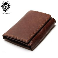 Wholesale men genuine trifold leather wallet - Wholesale- RFID Wallet Antitheft Scanning Leather Wallet Hasp Leisure Men's Slim Leather Mini Wallet Case  Trifold Purse