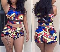 Wholesale Colorful Crop Tops - 2017 NEW ARRIVAL SEXY WOMEN Net yarn SWIMSUIT COLORFUL PRINT BIKINIS HIGH WAIST CROP TOP BATHING SUIT