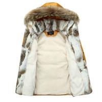 Wholesale Men S Rabbit Fur - Wholesale- Men Winter Coat Fur Collar Duck Down Parka Jackets Mens Puffer jacket With Fur Hood Rabbit Deisgner Warm Coats Brand Women 2016
