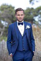 Wholesale Wool Shawl For Wedding Dress - New arrival Customize made Blue Men Suits Tuxedos Wedding Suits for Men Dress Shawl lapel Latest Coat Pant Designs(Jacket+Pants+Vest)